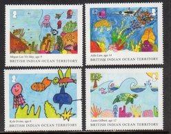 BIOT,BRITISH INDIAN OCEAN TERRITORY, 2018, MNH, CHILDREN'S DRAWINGS, TURTLES, FISH, MARINE LIFE,4v - Turtles