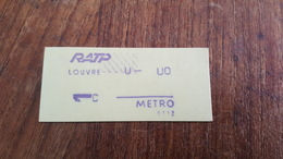 Ticket   RATP METRO  1 CLASSE LOUVRE - Metropolitana