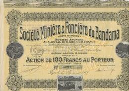 3 ACTIONS DE 100 FRS - SOCIETE MINIERE ET FONCIERE DU BANDAMA - ANNEE 1919 - Mines