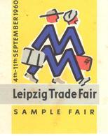 ETIQUETA     LEIPSIG TRADE FAIR SEPTEMBER 1960 (IMPORTANTE  FERIA COMERCIAl ) - Publicidad