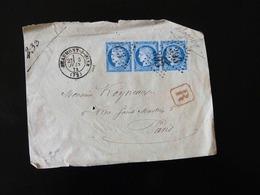 FACADE D'ENVELOPPE   DE BEAUMONT SUR OISE POUR PARIS -  1874 -  BELLE OBLITERATION  25 C - Marcophilie (Lettres)