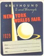 ETIQUETA   NEW YORK WORLD'S FAIR 1939 - Publicidad