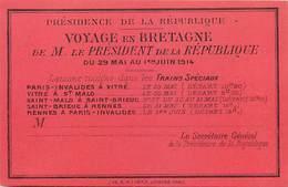 Themes Div-ref Y216-programme 12cms X 8cms -voyage En Bretage Du President De La Republique En 1914- - Programma's
