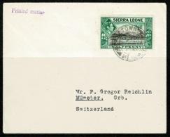 Ref 1233 - 1938 Cover - Sierra Leone To Switzerland 1/2d Printed Matter Rate - Sierra Leone (...-1960)