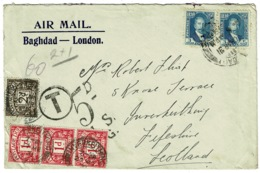 Ref 1233 - 1931 Airmail Cover - Iraq To Inverkeith Scotland - GB 5d Postage Due Good Marks - Iraq