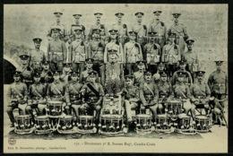 Ref 1233 - Military Postcard - Crete Greece - British Troops - 2nd Sussex Regiment Drummers - Greece