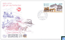 Sri Lanka Stamps 2018, World Post Day, Horse Cart, Trains, Train, Kandy, FDC - Sri Lanka (Ceylon) (1948-...)