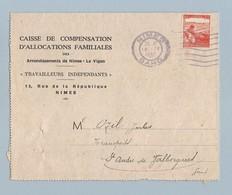 N°736 Seul Sur Document Caisse Allocations Familiales 18/9/45 Nîmes - Postmark Collection (Covers)