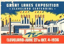 ETIQUETA    GREAT LAKES EXPOSITION -CLEVELAND CENTENNIAL 1936 - Publicidad