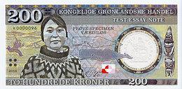 Groenland Specimen Essai Test Notes 200 Kroner 2018  UNC Polymer - Norway