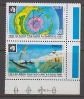 Chile 1991 Antarctic Treaty 2v Se Tenant (corner) ** Mnh (40979D) - Chile