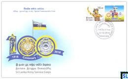 Sri Lanka Stamps 2018, Army Service Corps, Military, Horse, Horses, Special Commemorative Cover - Sri Lanka (Ceylon) (1948-...)