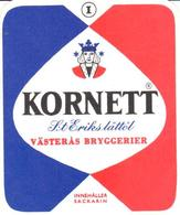 ETIQUETA     KORNETT  -VÄSTERÁS BRYGGERIER - Publicidad