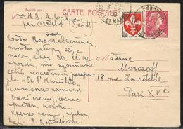 Entier Postal Carte Postale 15 F Marianne De Muller + 5 F Lille Obl. Tàd Tireté Verdelot / Seine Et Marne 6.5.1959 - 1955- Marianne De Muller