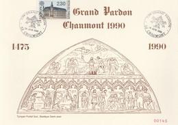 GRAND PARDON CHAUMONT 1990 LE 24 JUIN - 1475, LE TYMPAN PORTAIL SUD BASILIQUE ST JEAN  - 2 SCANNS - - Cristianesimo