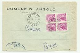 Francobolli Lire 13 Quartina Su Busta Comune Di Angolo Brescia 1955 - 6. 1946-.. Repubblica