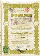CHARBONNAGES De HAM-sur-SAMBRE & MOUSTIER; Bon De Caisse - Mines