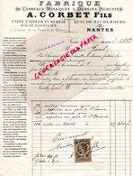 44 - NANTES- RARE LETTRE MANUSCRITE SIGNEE A. CORBET FILS-FABRIQUE CARREAUX MOSAIQUES A DESSINS -RUE CORNULIER-1883 - France