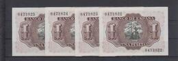 EDIFIL 465. 1 PTA 22 DE JULIO DE 1953.  LOTE DE 4 BILLETES SIN SERIE Y SIN CIRCULAR. - 1-2 Pesetas