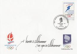 ALBERTVILLE 92 - 16° J.O. D'HIVER - TIMBRE - PARCOURS DE LA FLAMME OLYMPIQUE - BELLE ENVELOPPE SOUVENIR - A VOIR !!! - Inverno1992: Albertville