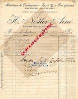 TUNISIE- SOUSSE- RARE FACTURE H. NESTLER AINE- MATERIAUX CONSTRUCTION- FERS -METAUX-RUE JULES FERRY ET RUE MARCHE-1904 - Factures & Documents Commerciaux