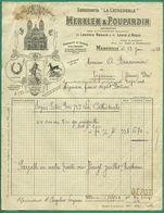 13 Marseille Savonnerie ( Logo Semeuse, La Cathedrale, L' Olivier, La Biche )  Merklen Et Poupardin 28 Juin 1925 - Droguerie & Parfumerie