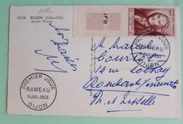 19882# COTE D' OR CPA JARDIN DARCY Obl PREMIER JOUR DIJON RAMEAU 9 JUIL. 1953 - 1921-1960: Periodo Moderno