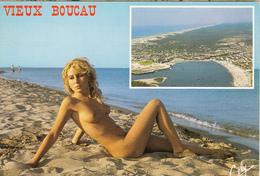 Blonde  Nue  Sur Le Sable à VIEUX BOUCAU - Nus Adultes (< 1960)