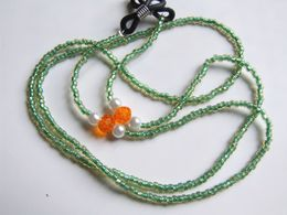 Cordon Lunettes, Miyuki, Green Lined Topaz 724, Cristal Tchèque Facetté, Vert Orange, Perles Verre, Travail Artisanal, - Jewels & Clocks