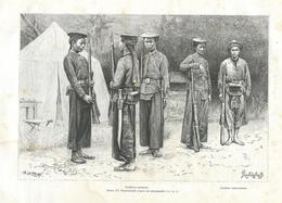 GRAVURE De 1888...VIETNAM..Tirailleurs Tonkinois, Tirailleurs Cochinchinois... Dessin De Pranishnikoff - Prints & Engravings