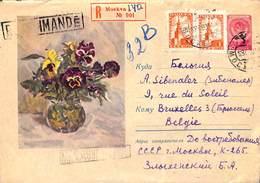 RUSSIE - Entier Postal Sur Enveloppe Illustration Fleurs Recommandé Moskva - 1923-1991 URSS