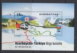 12.- AZERBAIJAN 2017 JOINT ISSUE WITH TURKEY - TRAINS RAILWAYS - Gezamelijke Uitgaven