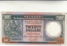 China, Cina. 20 Dollars The Hong Kong And Shanghai Banking Corporation 1988 Cons BB - Cina