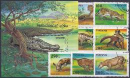 TANZANIA 1995 - Yvert # 1913/19+H281 - VFU - Animalez De Caza