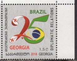 GEORGIA, 2018, MNH, 25 YEARS OF DIPLOMATIC RELATIONS WITH BRAZIL, FLAGS,1v - Stamps