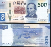 J) 2017 MEXICO, BANK NOTE, 500 PESOS BLUE, BENITO JUAREZ, GRAY WHALE, XF - Mexico