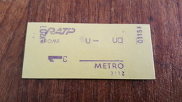 TICKET RATP METRO 1 CLASSE STATION ROME - Metropolitana