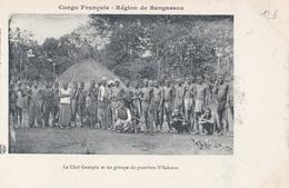 CONGO  Région De BANGASSOU  Le Chef GANAPIA Et Un Groupe De Guerriers N' SAKARAS  ( Plan Animé ) - Congo Francese - Altri