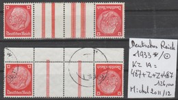TIMBRES D ALLEMAGNE NEUF *  OBL COMPOSEES 1933   Nr KZ 19=487+Z+Z+487  COTE 126     € - Allemagne