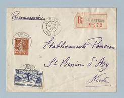 N°334 + 235 Sur Enveloppe Recommandé De Le Brethon Vers ST Benin D' Azy Du 10/3/37 - Postmark Collection (Covers)