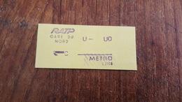 TICKET RATP METRO 1 CLASSE STATION GARE DU NORD - Europe