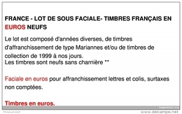 FRANCE - LOT DE SOUS FACIALE - 400 EUROS DE TIMBRES FRANÇAIS EN EUROS NEUFS - Other