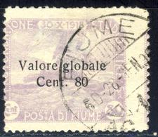 1920 - Pro Fondazione Studio Soprstampato Valore Globale 80 C./8o Cor Violetto Annullato Con Varieta' Stampa Spostata - Fiume