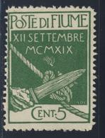 1920 - Ingresso Dei Legionari A Fiume - 5 Cent. Verde MLH* - Fiume