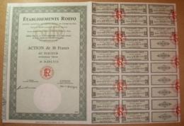 Action. Etablissements ROFFO - Action De 30 Francs Au Porteur 1974 Avec Tous Ses Coupons - Shareholdings