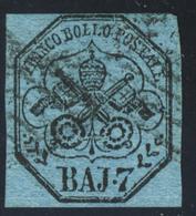 1852 - 7 Baj Azzurro Annullato - Immagine Anche Del Verso - Stato Pontificio