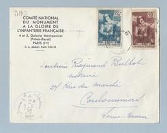 N°386/387 Journée De L Infanterie Sur Enveloppe Avec Sa Carte De Paris Vers Coulommiers 7/5/39 - Marcophilie (Lettres)