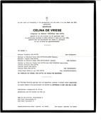 Celina DE VRIESE 1904 1979 Ee/v Theophiel VAN HYFTE Sint-Jan-in-Eremo  Bentille - Obituary Notices