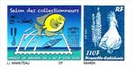 Nouvelle Caledonie Timbre Personnalise A Moi PUBLIC Salon Collectionneurs Mairie Noumea 6 Juin 2014 Poisson Medaille - Nieuw-Caledonië