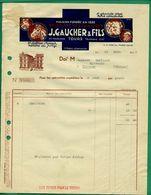 37 Tours Gaucher Et Fils Spécialités Vétérinaires Ancienne Maison Médard 23 Mars 1938  ( Logo Chien, Cheval, Coq, Vache) - Other
